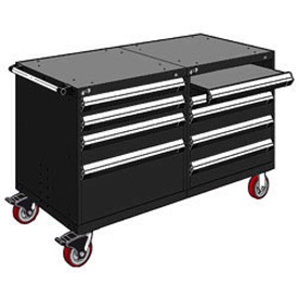 "Rousseau 8 Drawer Heavy-Duty Double Mobile Modular Drawer Cabinet - 60""Wx27""Dx37-1/2""H Black"