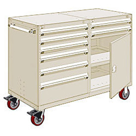"Rousseau 8 Drawer Heavy-Duty Double Mobile Modular Drawer Cabinet - 60""Wx27""Dx45-1/2""H Beige"