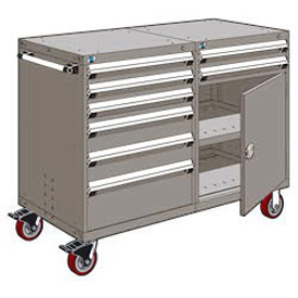"Rousseau 8 Drawer Heavy-Duty Double Mobile Modular Drawer Cabinet - 60""Wx27""Dx45-1/2""H Light Gray"
