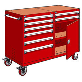 "Rousseau 8 Drawer Heavy-Duty Double Mobile Modular Drawer Cabinet - 60""Wx27""Dx45-1/2""H Red"