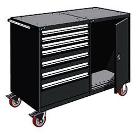 "Rousseau 7 Drawer Heavy-Duty Double Mobile Modular Drawer Cabinet - 60""Wx27""Dx45-1/2""H Black"