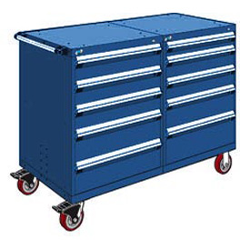"Rousseau 10 Drawer Heavy-Duty Double Mobile Modular Drawer Cabinet - 60""x27""x45-1/2"" Avalanche Blue"