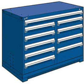 "Rousseau Metal 10 Drawer Counter High 48""W Multi-Drawer Cabinet - Avalanche Blue"