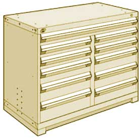 """Rousseau Metal 11 Drawer Counter High 48""""W Multi-Drawer Cabinet - Beige"""