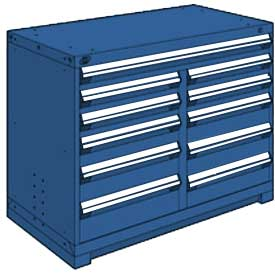 "Rousseau Metal 11 Drawer Counter High 48""W Multi-Drawer Cabinet - Avalanche Blue"