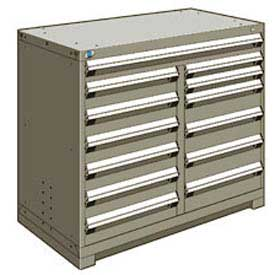 "Rousseau Metal 13 Drawer Counter High 48""W Multi-Drawer Cabinet - Light Gray"