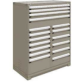 "Rousseau Metal 17 Drawer Full Height 48""W Multi-Drawer Cabinet - Light Gray"