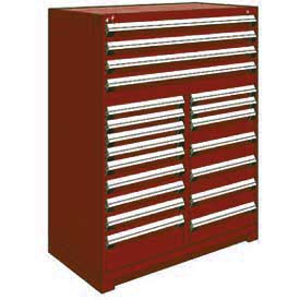 "Rousseau Metal 20 Drawer Full Height 48""W Multi-Drawer Cabinet - Red"
