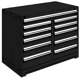 "Rousseau Metal 11 Drawer Counter High 48""W Multi-Drawer Cabinet - Black"