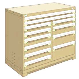 "Rousseau Metal 12 Drawer Counter High 48""W Multi-Drawer Cabinet - Beige"