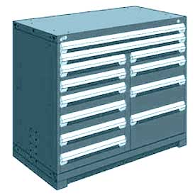 "Rousseau Metal 12 Drawer Counter High 48""W Multi-Drawer Cabinet - Everest Blue"