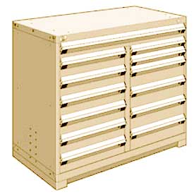 "Rousseau Metal 13 Drawer Counter High 48""W Multi-Drawer Cabinet - Beige"