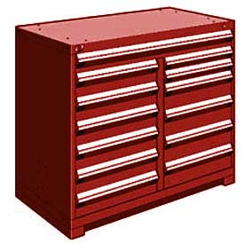 "Rousseau Metal 13 Drawer Counter High 48""W Multi-Drawer Cabinet - Red"