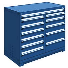 "Rousseau Metal 12 Drawer Counter High 48""W Multi-Drawer Cabinet - Avalanche Blue"
