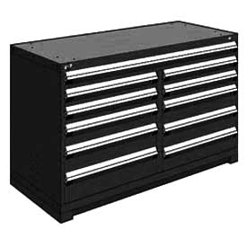 "Rousseau Metal 11 Drawer Counter High 60""W Multi-Drawer Cabinet - Black"
