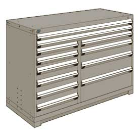 "Rousseau Metal 12 Drawer Counter High 60""W Multi-Drawer Cabinet - Light Gray"