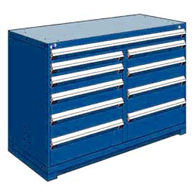 "Rousseau Metal 10 Drawer Counter High 60""W Multi-Drawer Cabinet - Avalanche Blue"