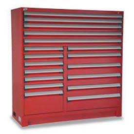 "Rousseau Metal 18 Drawer Full Height 60""W Multi-Drawer Cabinet - Red"