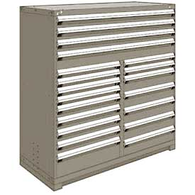 "Rousseau Metal 20 Drawer Full Height 60""W Multi-Drawer Cabinet - Light Gray"