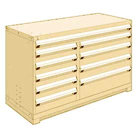 """Rousseau Metal 10 Drawer Counter High 60""""W Multi-Drawer Cabinet - Beige"""