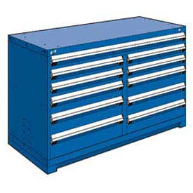 "Rousseau Metal 11 Drawer Counter High 60""W Multi-Drawer Cabinet - Avalanche Blue"