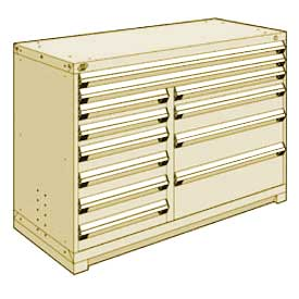 """Rousseau Metal 12 Drawer Counter High 60""""W Multi-Drawer Cabinet - Beige"""