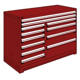 "Rousseau Metal 12 Drawer Counter High 60""W Multi-Drawer Cabinet - Red"