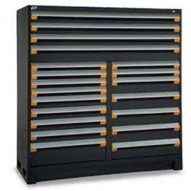 "Rousseau Metal 20 Drawer Full Height 60""W Multi-Drawer Cabinet - Black"
