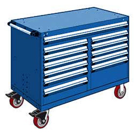 "Rousseau Metal 12 Drawer Mobile Multi-Drawer Cabinet - 48""Wx24""Dx37-1/2""H Avalanche Blue"