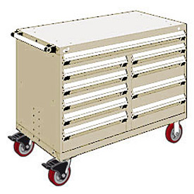 "Rousseau Metal 10 Drawer Mobile Multi-Drawer Cabinet - 48""Wx24""Dx37-1/2""H Beige"