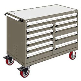 "Rousseau Metal 10 Drawer Mobile Multi-Drawer Cabinet - 48""Wx24""Dx37-1/2""H Light Gray"