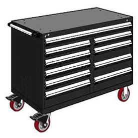 "Rousseau Metal 10 Drawer Mobile Multi-Drawer Cabinet - 48""Wx24""Dx37-1/2""H Black"