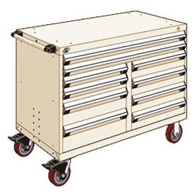 """Rousseau Metal 10 Drawer Mobile Multi-Drawer Cabinet - 48""""Wx24""""Dx37-1/2""""H Beige"""