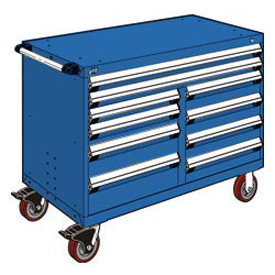 "Rousseau Metal 10 Drawer Mobile Multi-Drawer Cabinet - 48""Wx24""Dx37-1/2""H Avalanche Blue"