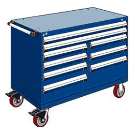 "Rousseau Metal 9 Drawer Mobile Multi-Drawer Cabinet - 48""Wx24""Dx37-1/2""H Avalanche Blue"