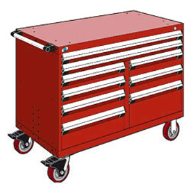 """Rousseau Metal 9 Drawer Mobile Multi-Drawer Cabinet - 48""""Wx24""""Dx37-1/2""""H Red"""