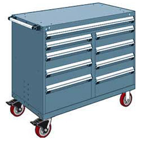 "Rousseau Metal 9 Drawer Mobile Multi-Drawer Cabinet - 48""Wx24""Dx41-1/2""H Everest Blue"