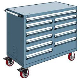 "Rousseau Metal 10 Drawer Mobile Multi-Drawer Cabinet - 48""Wx24""Dx41-1/2""H Everest Blue"