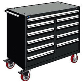 "Rousseau Metal 10 Drawer Mobile Multi-Drawer Cabinet - 48""Wx24""Dx41-1/2""H Black"