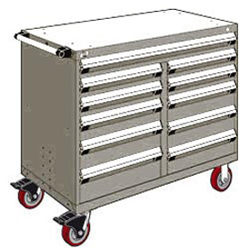 "Rousseau Metal 11 Drawer Mobile Multi-Drawer Cabinet - 48""Wx24""Dx41-1/2""H Light Gray"