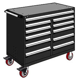 "Rousseau Metal 11 Drawer Mobile Multi-Drawer Cabinet - 48""Wx24""Dx41-1/2""H Black"