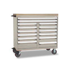 "Rousseau Metal 14 Drawer Mobile Multi-Drawer Cabinet - 48""Wx24""Dx45-1/2""H Light Gray"