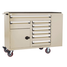 "Rousseau Metal 8 Drawer Mobile Multi-Drawer Cabinet - 62""Wx24""Dx45-1/2""H Beige"