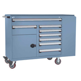 "Rousseau Metal 8 Drawer Mobile Multi-Drawer Cabinet - 62""Wx24""Dx45-1/2""H Everest Blue"