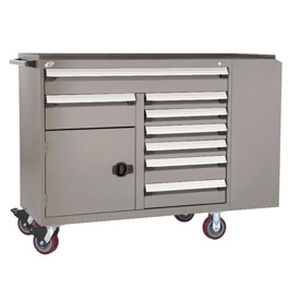 "Rousseau Metal 8 Drawer Mobile Multi-Drawer Cabinet - 62""Wx24""Dx45-1/2""H Light Gray"