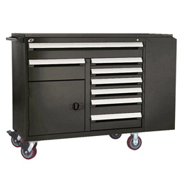 "Rousseau Metal 8 Drawer Mobile Multi-Drawer Cabinet - 62""Wx24""Dx45-1/2""H Black"