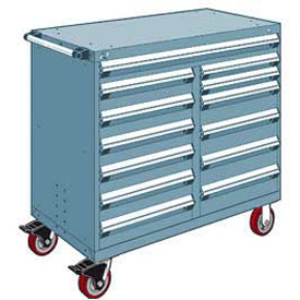 "Rousseau Metal 13 Drawer Mobile Multi-Drawer Cabinet - 48""Wx24""Dx45-1/2""H Everest Blue"