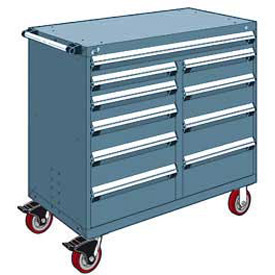 """Rousseau Metal 10 Drawer Mobile Multi-Drawer Cabinet - 48""""Wx24""""Dx45-1/2""""H Everest Blue"""