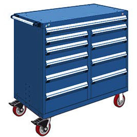 "Rousseau Metal 10 Drawer Mobile Multi-Drawer Cabinet - 48""Wx24""Dx45-1/2""H Avalanche Blue"
