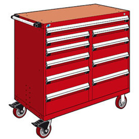 "Rousseau Metal 10 Drawer Mobile Multi-Drawer Cabinet - 48""Wx24""Dx45-1/2""H Red"